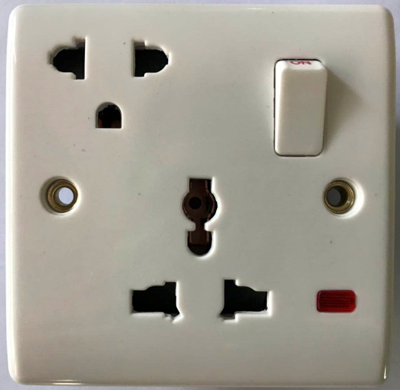 (BG) 16A+MF switched socket with neon
