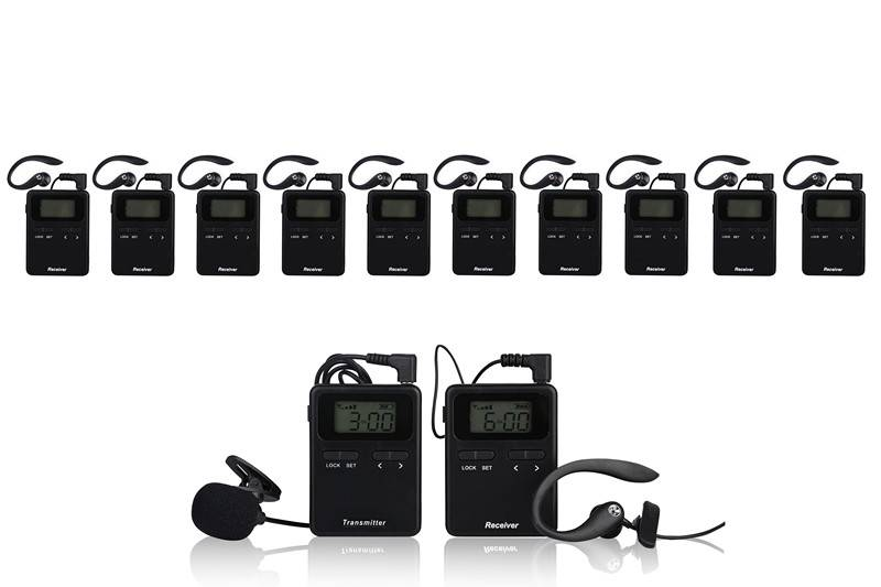 Digital wireless high quality audio tour guide package(2 pc transmitter+10 pc receivers+Chargers+Ace
