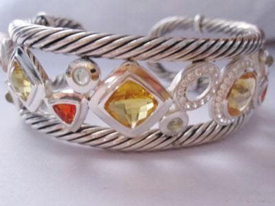 Sterling Silver Jewelry Citrine Cubic Zircon Cuff Bracelet (B-081)