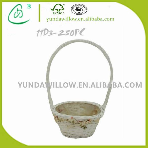 Cheap White Willow Flower Baskets Wedding with Fabric Liner