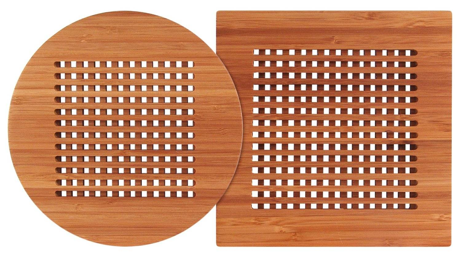 Round and Square Bamboo Wooden Heating Pot Kitchen Mug Lattice Trivets Coaster Set