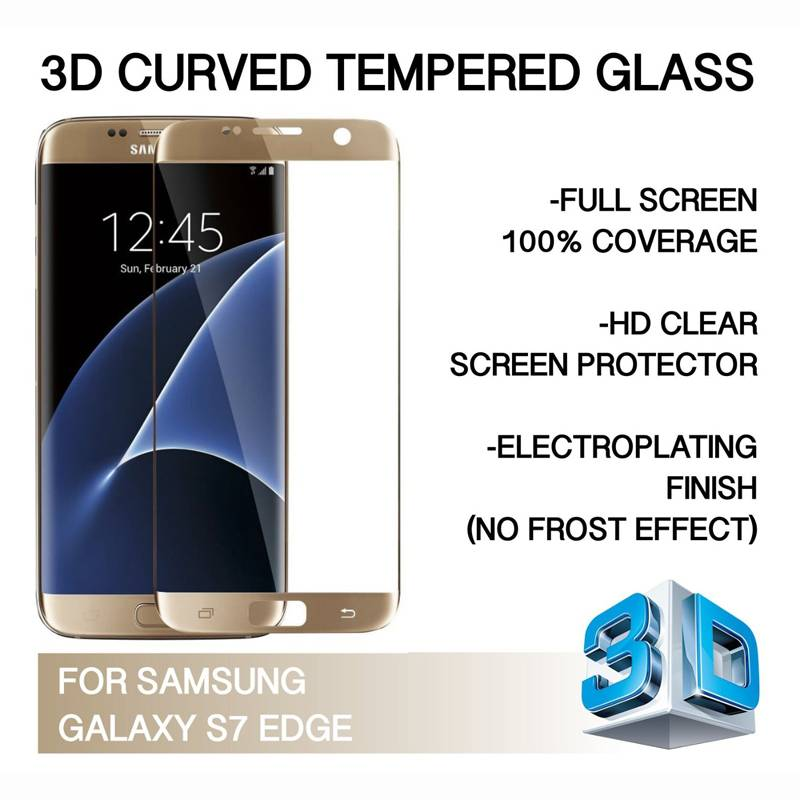 Tempered Glass Screen Protector,Easy-install Sticker 9H Bubble Free for Samsung Galaxy S7 Edge
