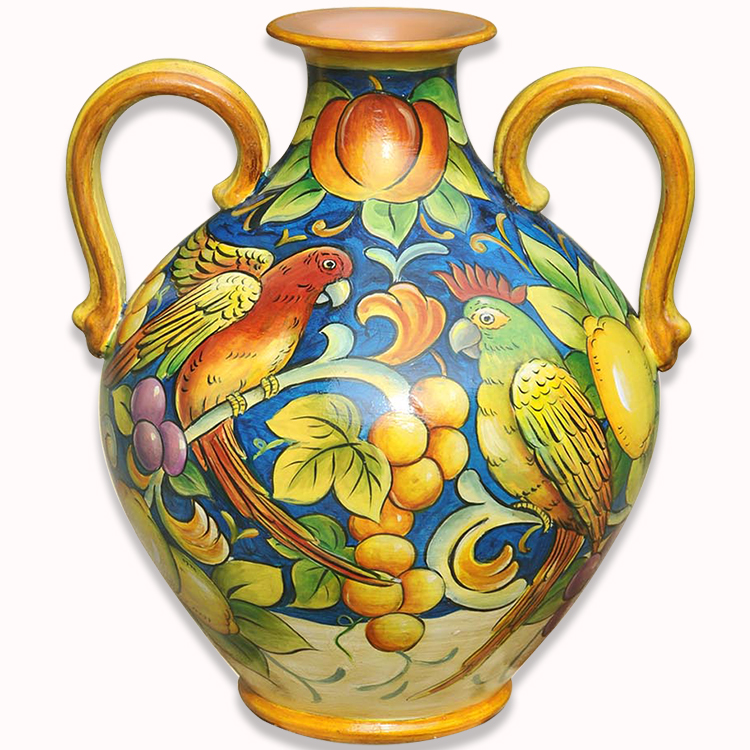 Parrot And Fruit Large Round Belly Luxury Ceramic Vases For Home Decor
