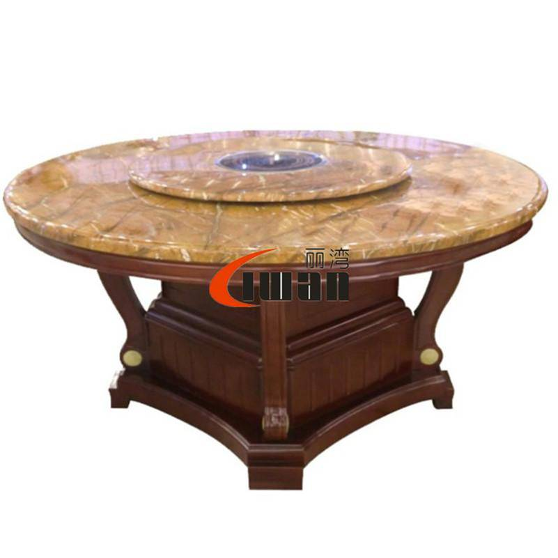 Hotpot restaurant use hotpot table, solid wood round hotpot table, round marble table