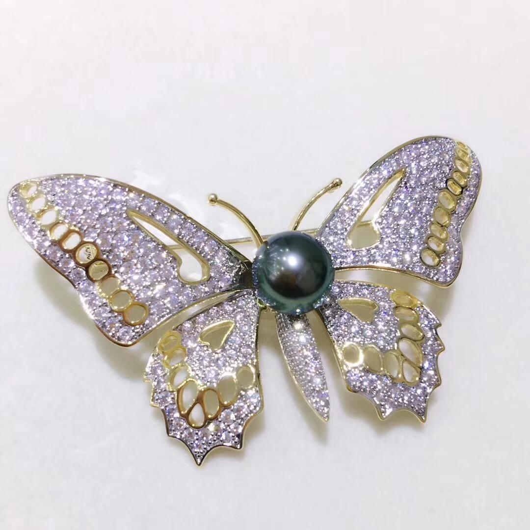 18K Gold Luxury Genunie South Sea Black Pearl Flora Brooch Pin