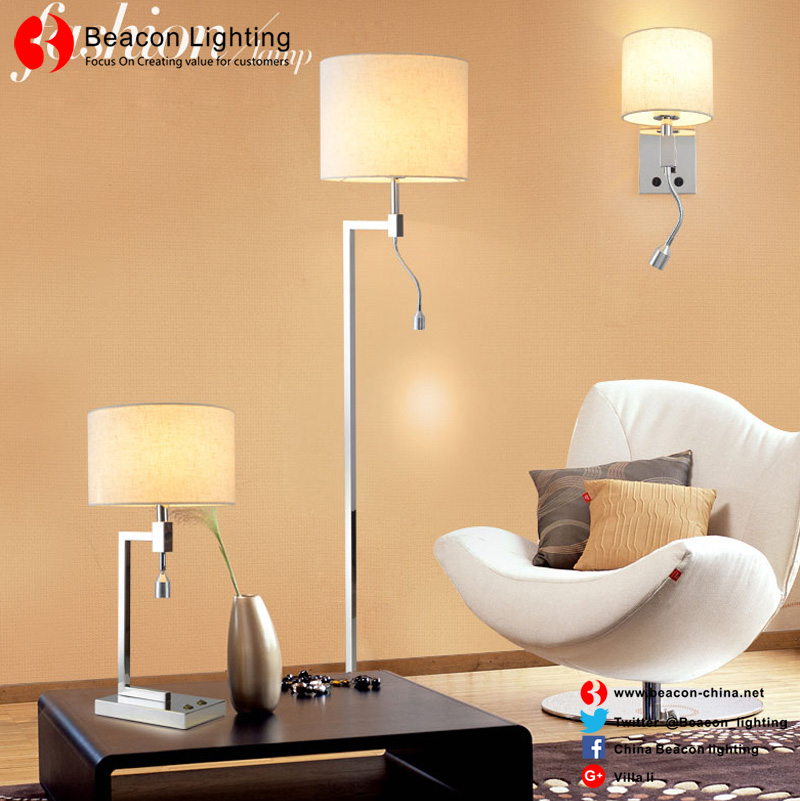 China wholesale 201/304 stainless steel floor lights with fabric shade for hotel guest rooms