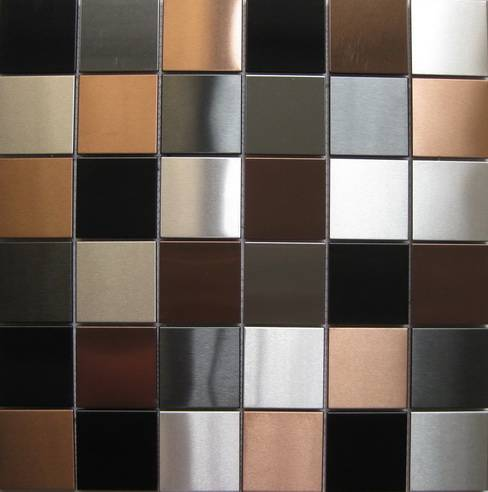 48*48MM silver+black+copper brushed stainless steel mosaic