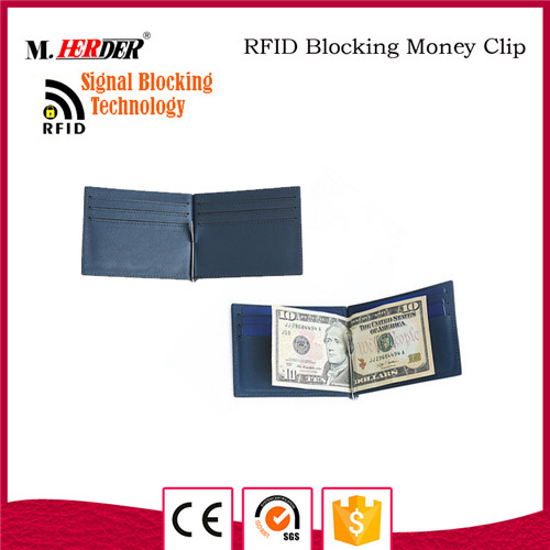 Latest blue rfid blocking money clip