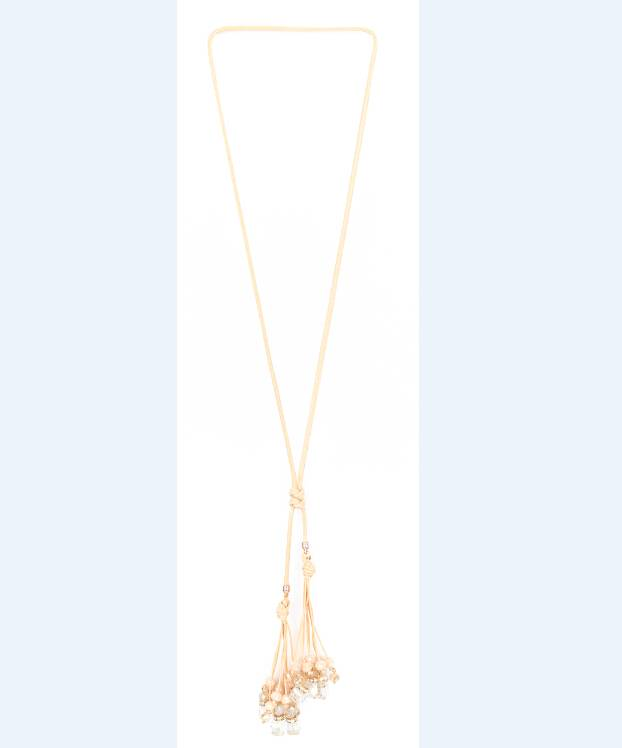 fashion women's wax rope beaded knot necklace