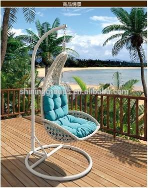 Patio rattan hanging chair with stand for Garden furniture 9005