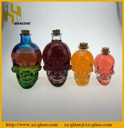 3oz skull shape glass wine bottle, 180ml red wine glass bottle China supplier