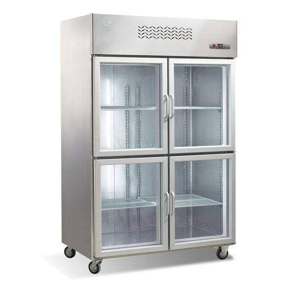 Four Glass Doors Stainless Steel Display Refrigerator