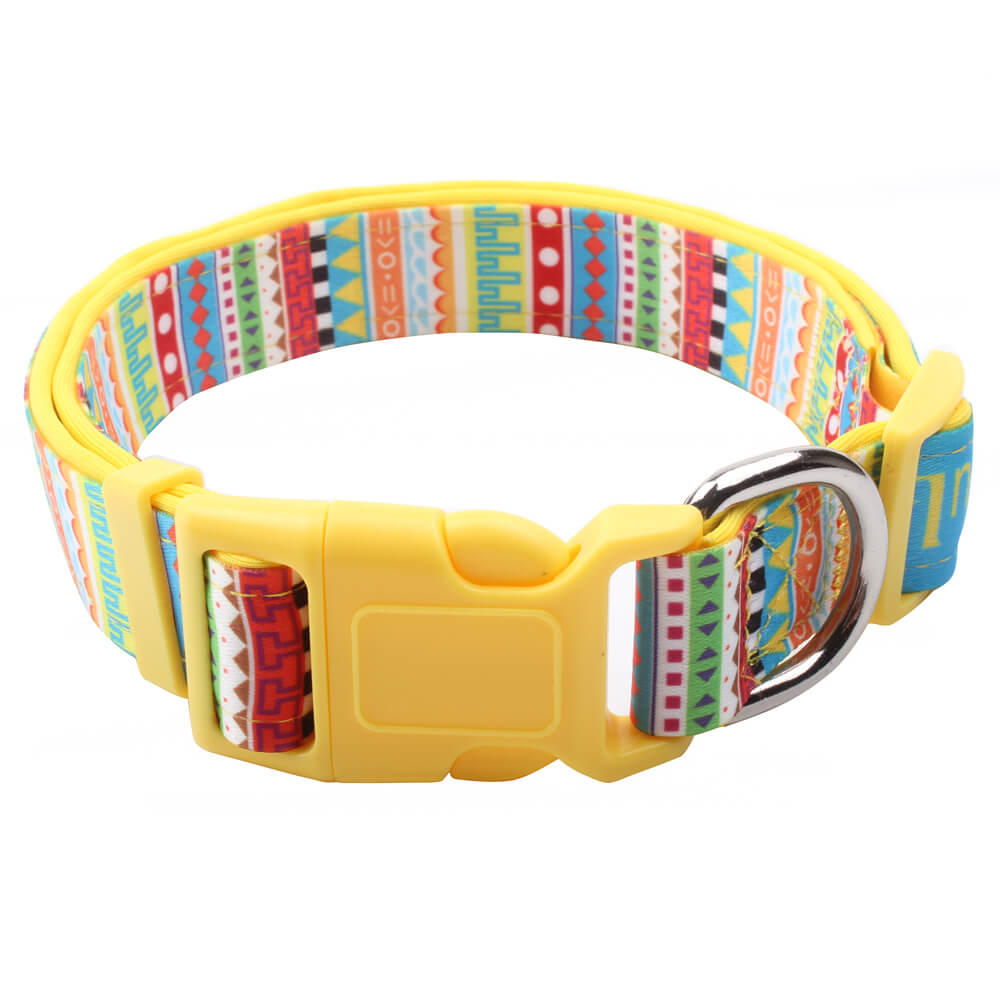 Custom colorful dog collars with colorful padded and brakeaway buckle