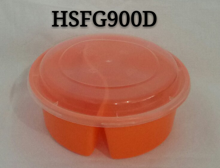 Round 900ml 2 Compartment (4:6) Disposable PP Plastic Microwave Safe Food Container with Arched Lid