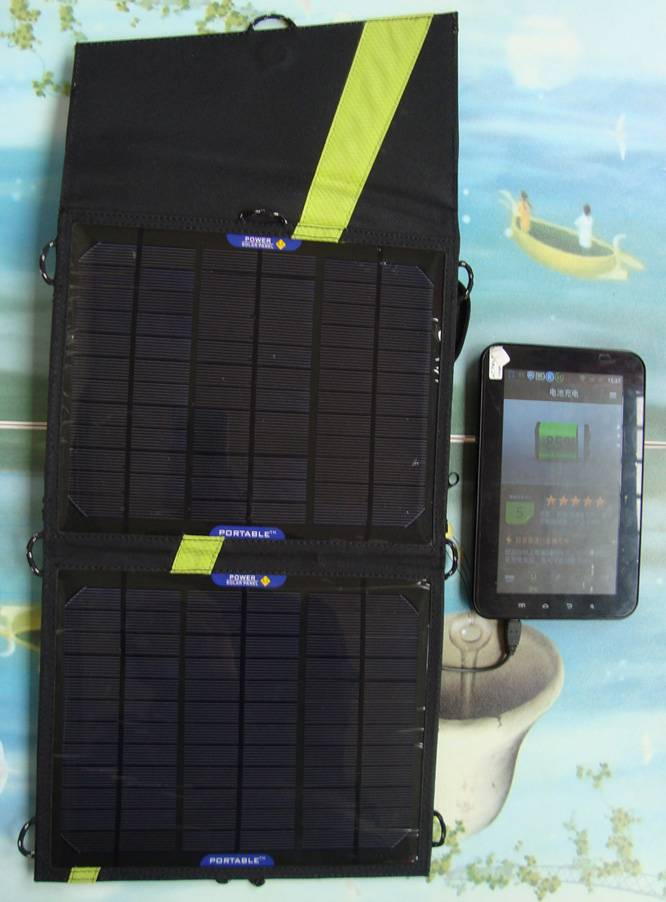 13watt foldable solar bag charger CY-013 with voltage controller fit for iPad/iPhone