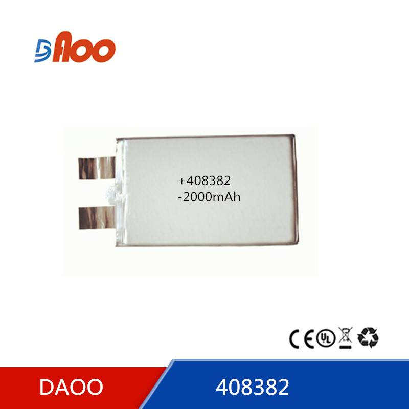 High quality 408382  Li-polymer batteries 2000mAh rechargeable battery