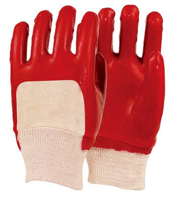 26cm red smooth finished PVC gloves for half coated PVC