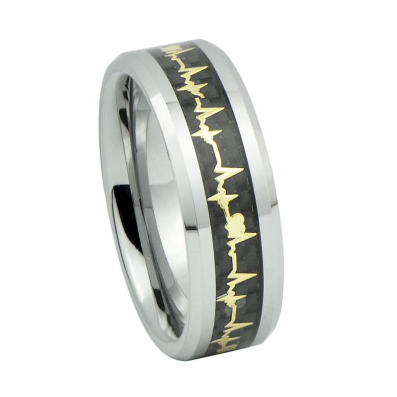 Fashion Tungsten Carbide Ring Forever Love Heartbeat Wedding Band