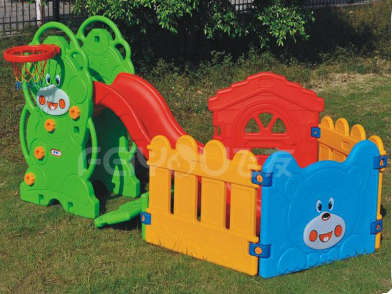 Small playground plastic slide with swing set for kids FY826305