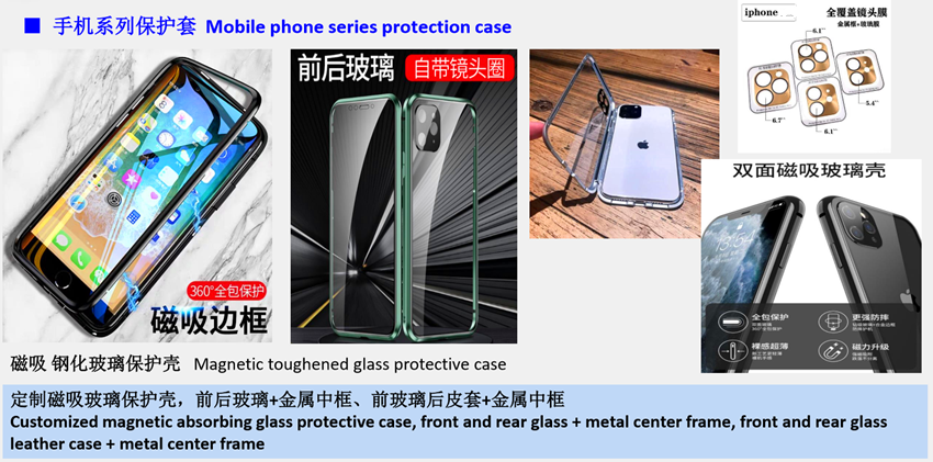 Magnetic glass mobile phone protective case