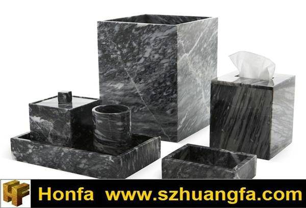 Black Marble Bathroom Accessory Set