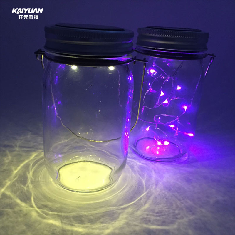 LED light solar glass jar with custom logo
