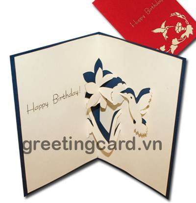 Humming bird 3D pop up greeting card