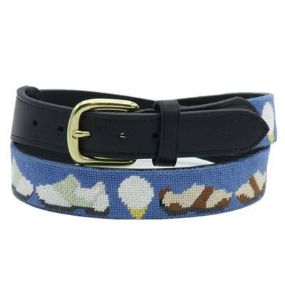 Golf Shoes needlepoint belts with genuine cowhide leather