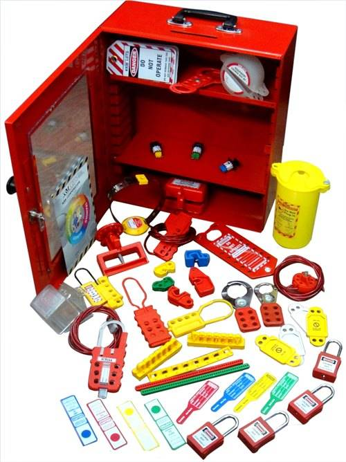 OSHA ELECTRICAL LOCKOUT TAGOUT STATION KIT - RED (WITH OSHA LOCK)