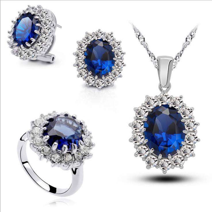 Fashion Women Silver Gemstone Necklace Earring Ring Jewelry Set