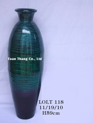 Handmade Vietnam coiled bamboo vase, eco-friendly bamboo vase(Skype: jendamy, Mob: +84 914542499)