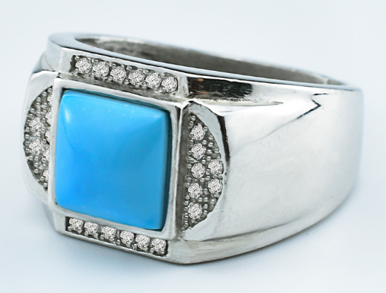 Inlay diamond polished blue turquoise ring for unisex wholesale retail manufacturing