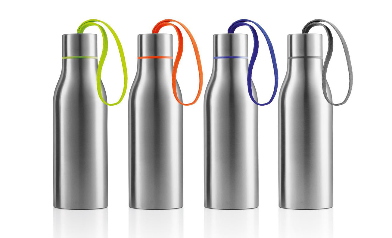 ZC-DO-H Thermo Water Bottle with Strap, Brushed Stainless Steel,Hand-held water bottle