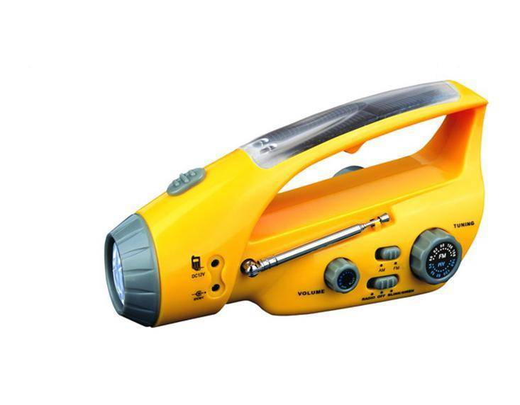Crank Dynamo Solar Flashlight with Mobilephone Chargers and AM & FM Radio
