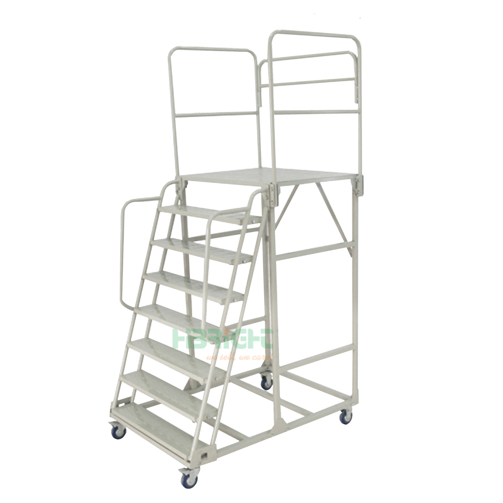 1.6M 7 Step Assembled Warehouse Rolling Ladders