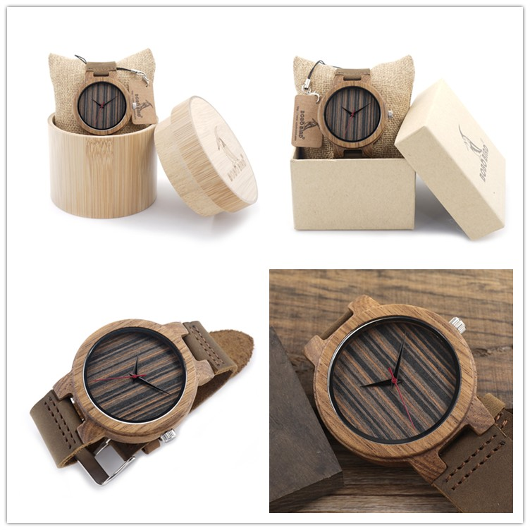 Wood wrist watch with real leather band