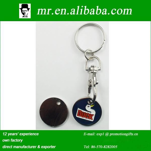 customized metal euro size shopping cart coin token jeton keychain