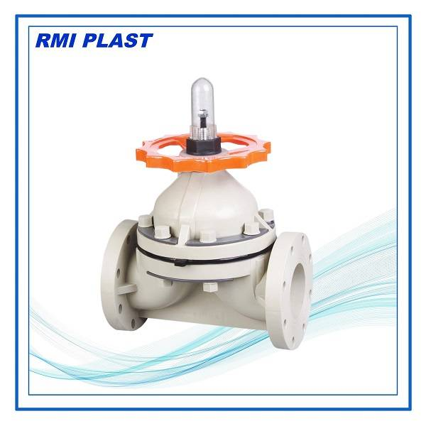 PVDF, PP diaphragm valve flange end ANSI CL150, JIS 10K, DIN PN10