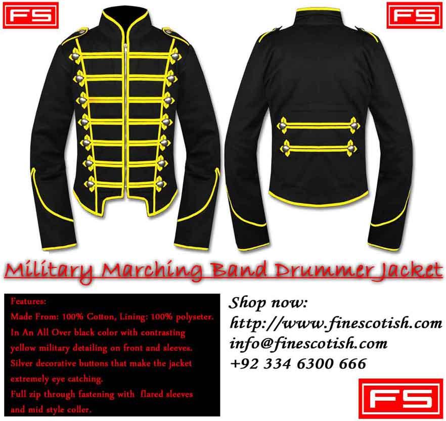 Men Black Military Marching Band Drummer Handmade Jacket 100 % Cotton