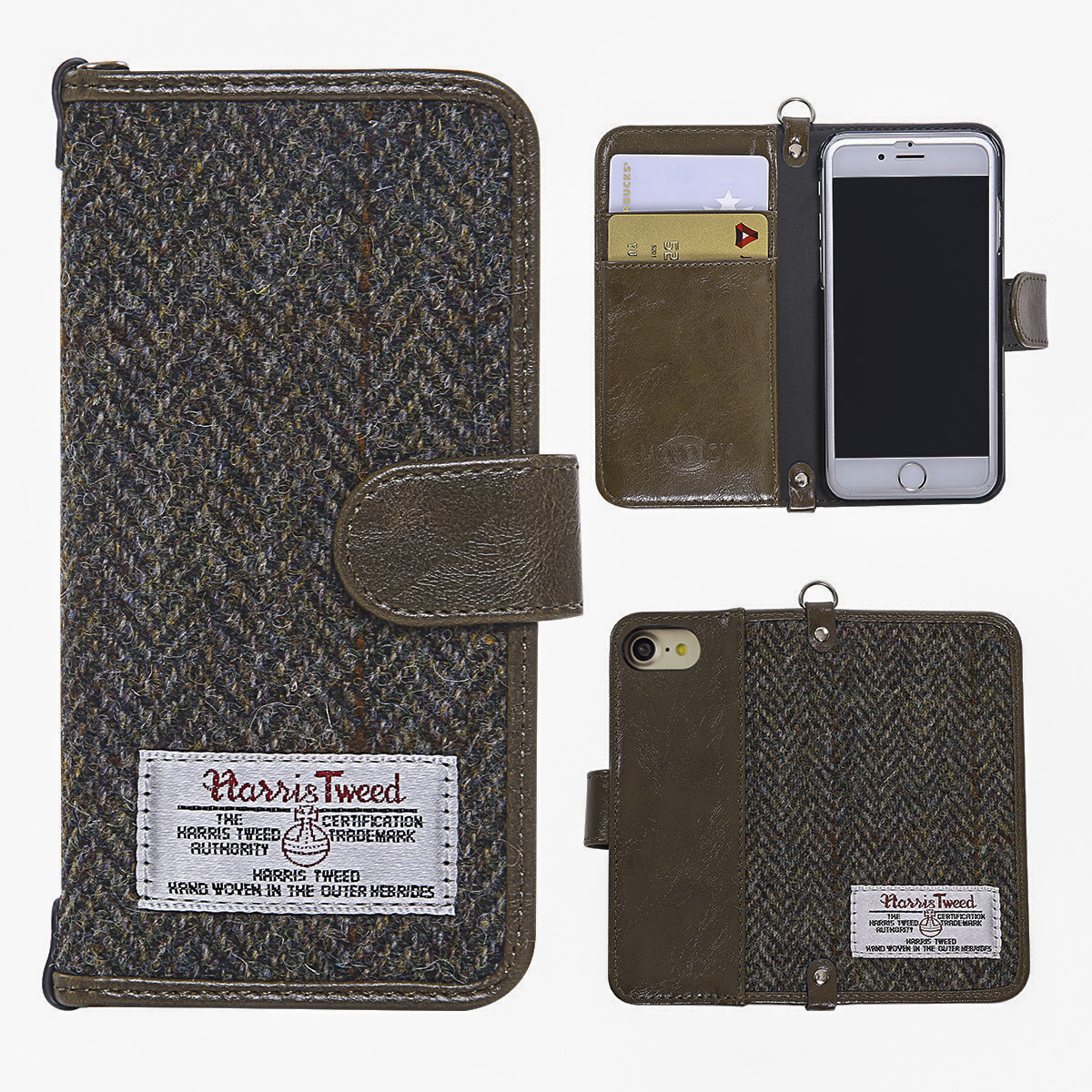 Harris Tweed iPhone 7 Case, Hard PC+ Premium Cotton Material Wallet For iPhone 7