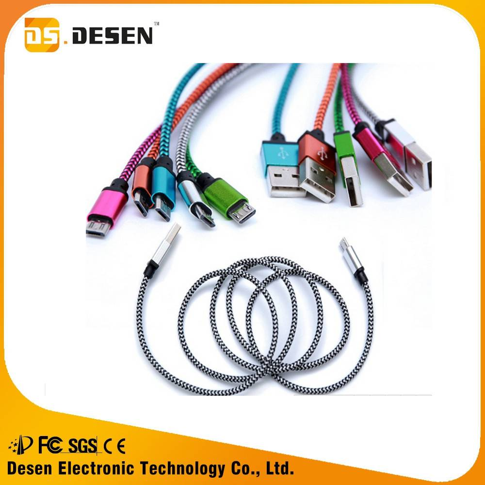 Hot product 1m colorful nylon braided usb cable