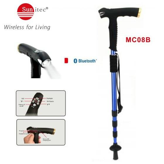 Multifunctional Walking Stick Complete With LED Torch SOS FM radio Compass & wireless MP3 playing