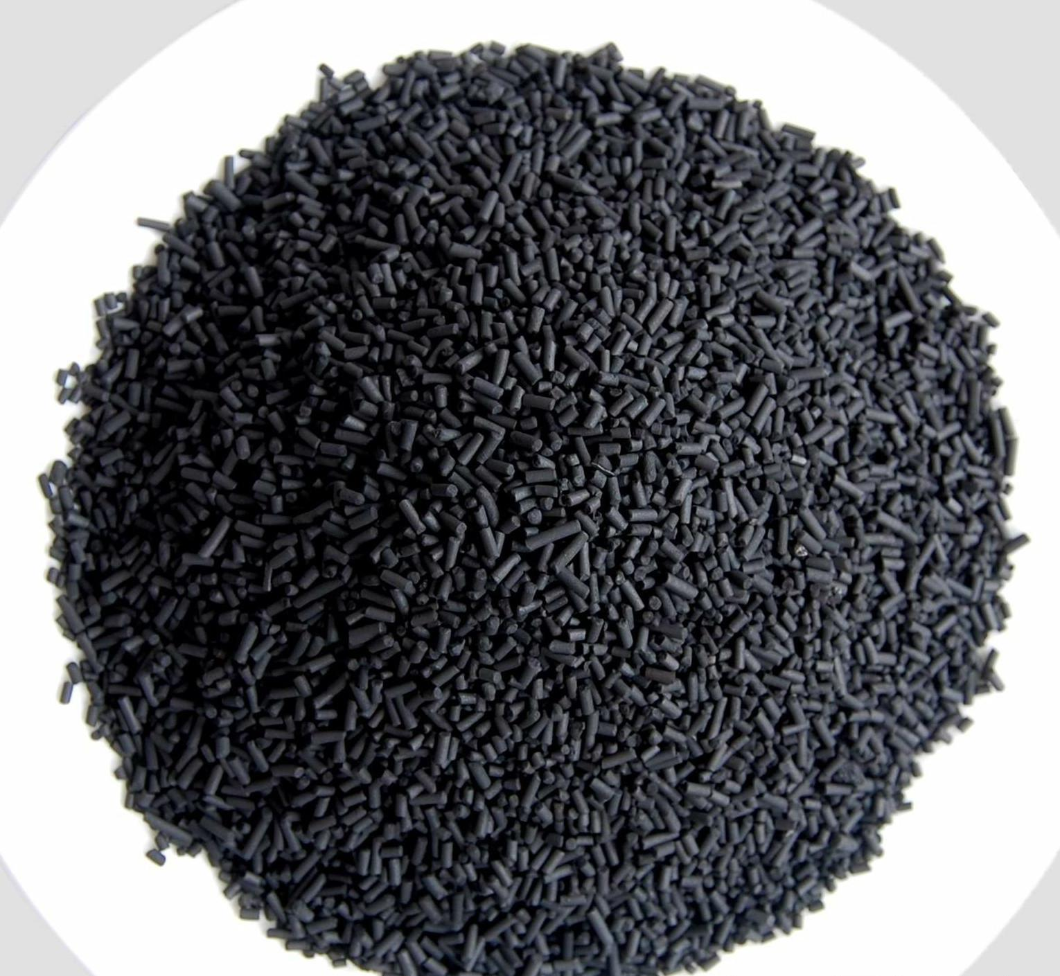 Solvent recovery pelleted activated carbon