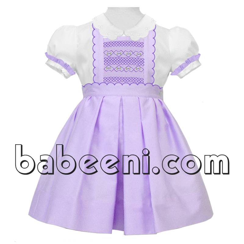 share facebookfavouete Lovely purple geometric smocked scallop girl dress - DR 2279