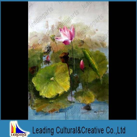lotus flower pond canvas oil painting home decoration