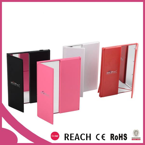 Led lighted door shaped plastic folding comstic mirror