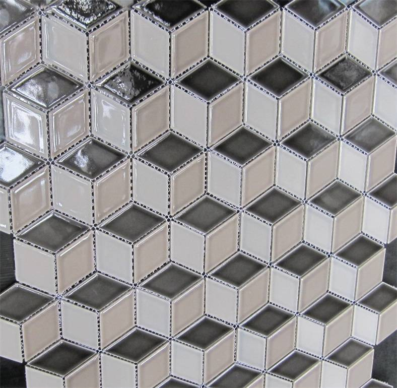 48x48mm Mixed Color 3D Diamond shape porcelain Mosaics