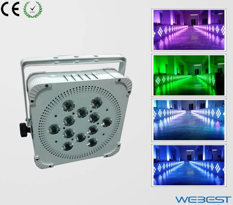 12 Lens RGB TRI Color 3W 3in1 LED Up Light Wireless DMX Rechargeable Flat LED Par