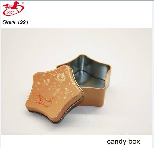 Small star candy/chocolate metal tin box, tin can for wedding