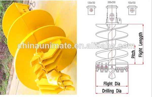 earth drilling machine tools, auger drilling, rock auger